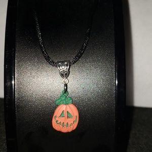 """NWOT Pumpkin 24"""" black cord necklace Halloween"""